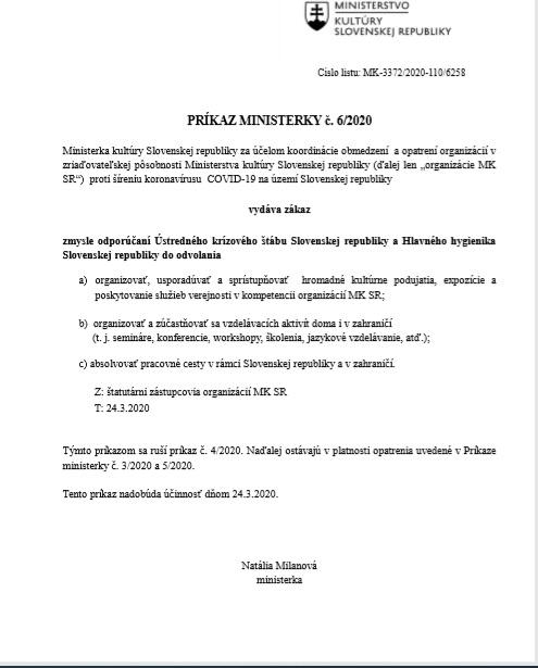 Príkaz Ministerky 06/2020
